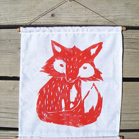 Red Fox Woodblock Print. Fabric Wall Hanging. 11X14. Choose ANY Color.
