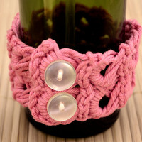 Exquisite Heirloom Crocheted Bracelet in Hand-Dyed Cherry Pink Cotton Narrow