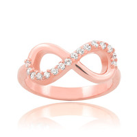 Solid 14k Rose Gold Personalized Infinity Ring Engravable in Elegant Forever Pink High Polish Finish for Women