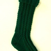 Green Cable Hand Knit Christmas Stocking