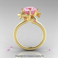 Art Masters 18K Yellow Gold 3.0 Ct Light Pink Sapphire Dragon Engagement Ring R601-18KYGLPS
