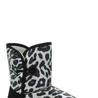 Slipper Boot with Metallic Leopard Print and Button on Side