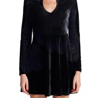 Black Velvet Cutout Long Sleeve Dress