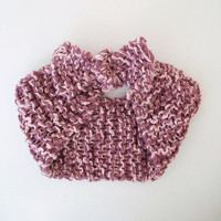 Vintage Style Pin Up Knitted Headband Purple Pink Textured Headwrap Vegan Knitted Earwarmer