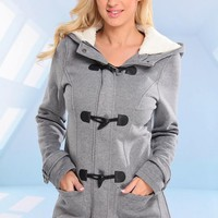 Grey Fleece Coat with Loop Closure & Faux Fur Hood