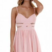 Light Pink Cutout Waist Sleeveless Dress with Mesh Inserts