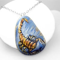 Scorpio Pendant, Zodiac Necklace, Scorpion Art, Astrology Jewellery, Hand Painted Beach Stone, Wearable Art, Blue and Orange