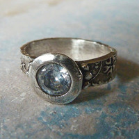 White Diamond Zirconia Stone Ring. Recycled Fine Silver Ring. Rustic Vintage Style Engagement Ring. Size 6.5