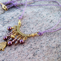 New ~~ Fatima Hand with Pearls - Lilac Cord with Beaded Dangles - Bohemian Gypsy Necklace