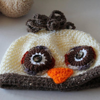 Toddler Hat - Owl Hat - Creams and Browns