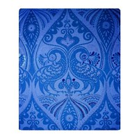 Blue Oriental Peacocks Pattern Throw Blanket