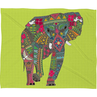 Sharon Turner Painted Elephant Chartreuse Fleece Throw Blanket
