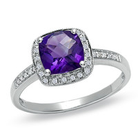 Cushion-Cut Amethyst and Diamond Accent Ring in 14K White Gold