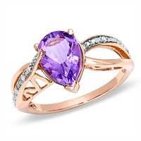 Pear-Shaped Rose de France Amethyst Split Shank Ring in 10K Rose Gold with Diamond Accents