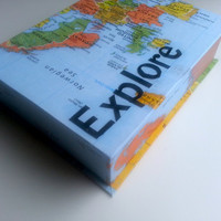 Keepsake Box - Explore the World Map Box Personalized Design 5x7 Hand-bound Handmade Gift Customized