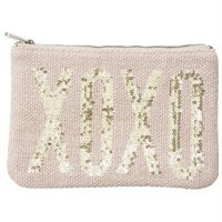 XOXO Sequin Pouch Beige Linen with Metallic Sequin