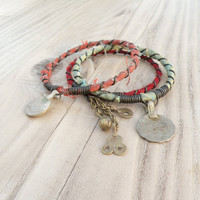 Silk Road Gypsy Bangle Stack - Mattani - 3 Bohemian Tribal Bracelets, Silk Wrapped, Aqua, Salmon, Red-Orange