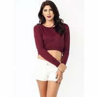High-Low Cropped Sweater - GoJane.com