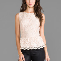Michael Stars Lace Peplum Top in Champagne