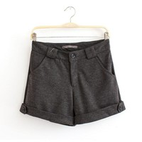 Flanging One-button Woolen Women Leisure Shorts,Cheap in Wendybox.com