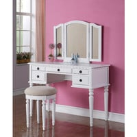 JRS Home Furniture F4074 White Vanity Set w/ Stool, Tri-Fold Mirrors, & 5 Drawers White Finish