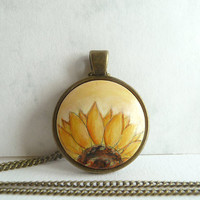 Sweet Sunflower Necklace, Hand Painted Pendant, Sunflower Jewelry, Half Of A Sunflower, Charm Bezel Antique Bronze Color, Artdora Design