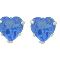 14Kt White Gold Tanzanite Heart Stud Earrings