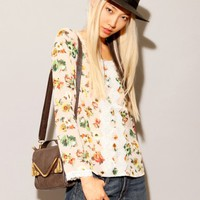 Floral scalloped crochet blouse