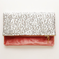 LIGHT PEACH / Velvet & Sequin folded clutch - Ready to Ship - OOAK
