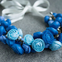 Blue Flower Necklace Wedding necklace, Bib Necklaces - make to oder