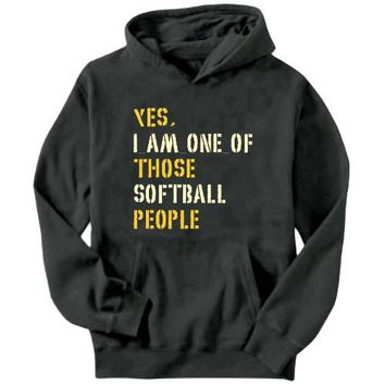 Yes I Am One Of Those Softball People Sports Mens Hoodie (Dark Silver, Sizes X-Small - XXX-Large)