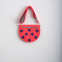 Neon Pink / Hot Pink Bag Felt Bag Felt Pouch Cute Bag Polka Dot Bag Dotted Bag Kawaii Hipster Club Kid Gift For Her For Girl