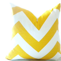 yellow chevron pillow cover, yellow and white side chevron pillow cover , Yellow 3 inch chevron pillow cover - Toss pillow, cushion cover