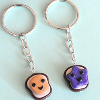 Handmade Peanut Butter and Jelly Best Friend Key Chains
