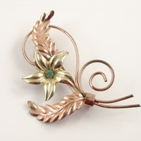 Vintage Sterling Silver Brooch Rose Gold Filled Flower Pin