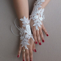 Rose goth gothic lace ivory Wedding gloves bridal gloves fingerless gloves french lace vampire free ship