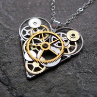 "Steampunk Heart Necklace ""Found"" Elegant Industrial Heart Necklace Mechanical Love Sculpture Gershenson-Gates Gear Heart"