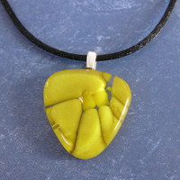 Mustard Yellow Necklace on Black Satin Cord, Handcrafted Jewelry, Gift for Her - Alia - 4568 -1