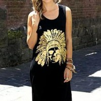 Black Sleeveless Maxi Dress with Gold Skull & Headdress Prin