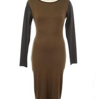 Olive Green Leather Sleeves Midi Dress