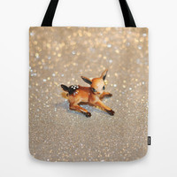 It's Snowing, my Deer Tote Bag by Lisa Argyropoulos