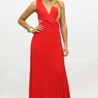Crisscross Bodice Pleated Skirt Party Dress in Red (VD566R)