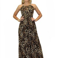 Maxi Party Dress in Leopard Print (VD-580-A)