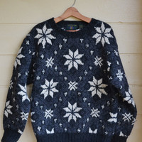 Vintage 90s Pullover Sweater Snowflake Sweater Wool Sweater Men's Christmas Sweater Ugly Christmas Sweater Size Medium