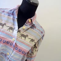 Vintage Button-Up Long Sleeve Western Shirt 1980s