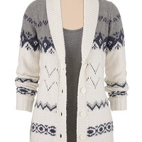 patterned button down grandpa cardigan