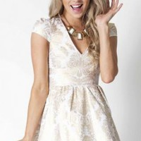 White & Gold Foil Print V-Neck Flare Dress