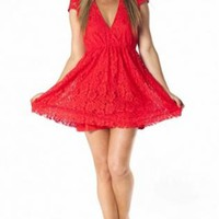 Red Lace V-Neck Cap Sleeve Dress