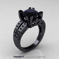 Modern Vintage 14K Black Gold 3.0 Carat Black and White Diamond Solitaire Ring R102-14KBGDBD