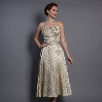 50s Sparkle Brocade DRESS Set / Strapless Boned Bodice & Full Circle Skirt, s